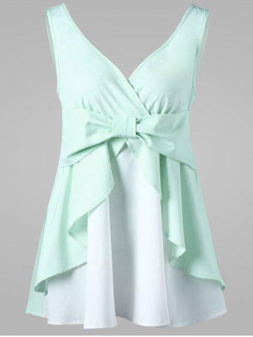 Discount Empire Waist Bowknot Tank Top MINT 2XL