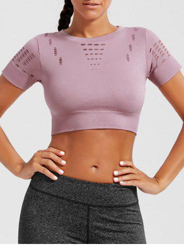 Buy Crew Neck Ripped Sports Crop Running T-shirt PINK L