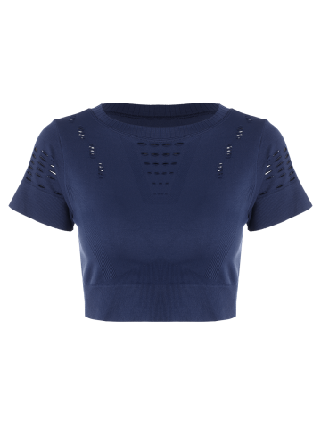 Buy Crew Neck Ripped Sports Crop Running T-shirt - DEEP BLUE S Mobile
