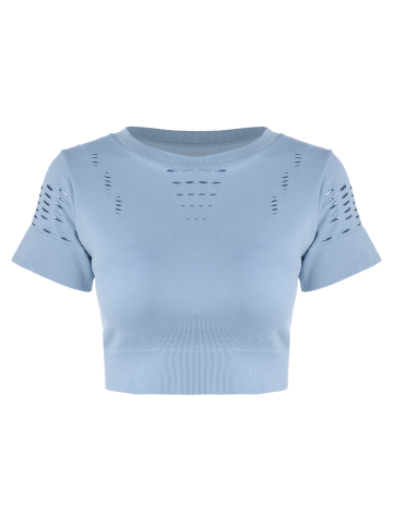 Unique Crew Neck Ripped Sports Crop Running T-shirt - L LIGHT BLUE Mobile