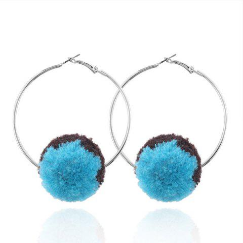 Alloy Circle Fuzzy Ball Hoop Earrings - Blue
