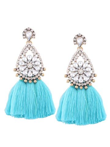 Rhinestone Teardrop Tassel Floral Earrings - Blue