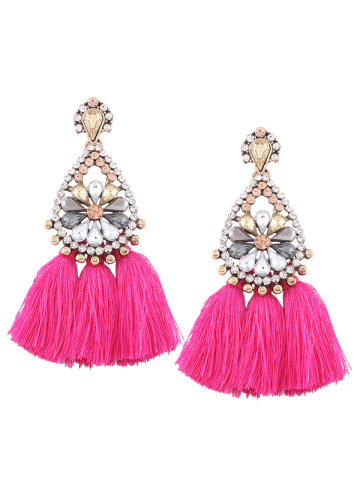 Latest Rhinestone Teardrop Tassel Floral Earrings ROSE RED