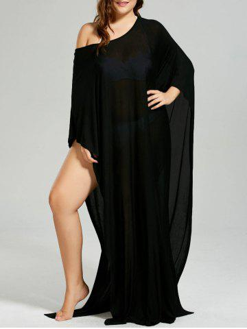 Outfit Convertible Collar High Slit Plus Size Cover-up - ONE SIZE BLACK Mobile