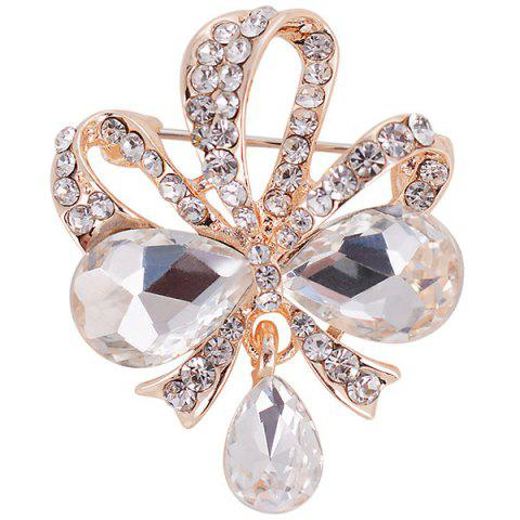 Cheap Hollow Out Rhinestone Teardrop Bowknot Brooch - WHITE  Mobile