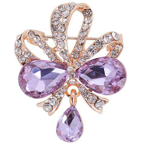 Online Hollow Out Rhinestone Teardrop Bowknot Brooch - PURPLE  Mobile