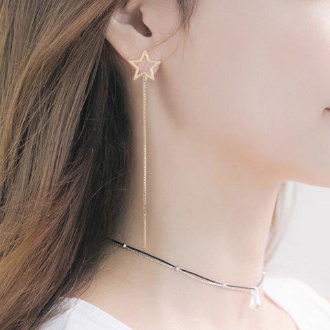 Hot Long Link Chain Hollow Out Star Earrings - GOLDEN  Mobile