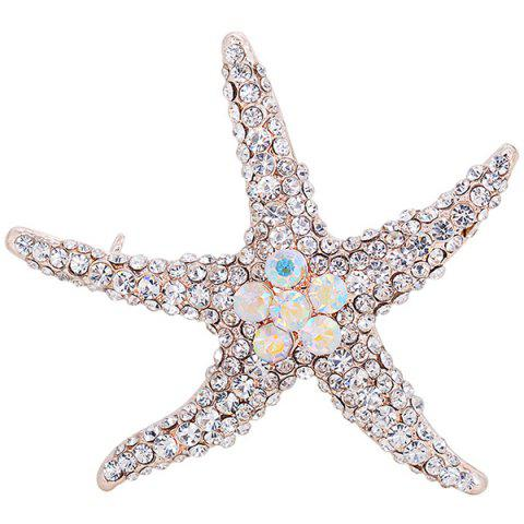 Alloy Starfish Design Rhinestone Inlaid Broosh Pin Argent