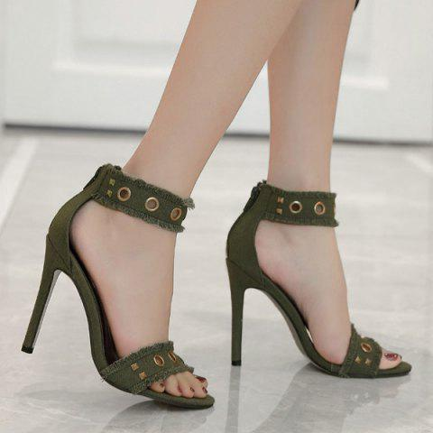 Zipper Rivets Stiletto Heel Sandals - Green - 38