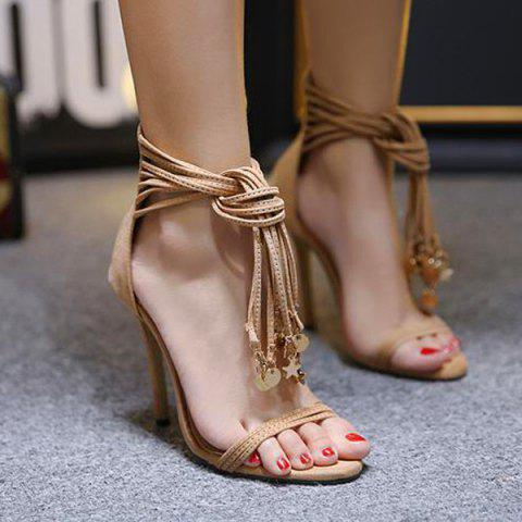 Pendant Tassel High Heel Sandals - Apricot - 37