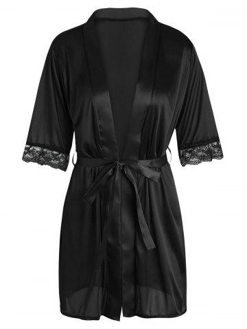 Satin Lace Trim Wrap Sleepwear with Belt - Black - M