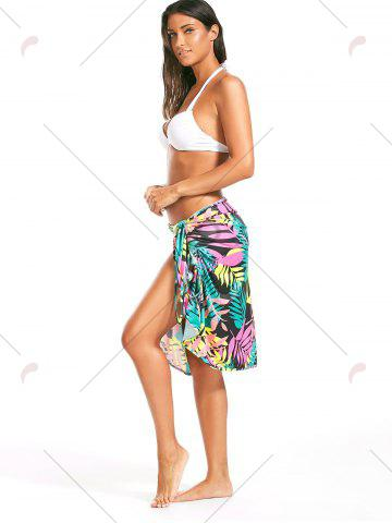 Fancy Colorful Palm Leaf Print Short Cover Up Dress - ONE SIZE FLORAL Mobile