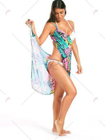 Outfits Colorful Palm Leaf Print Short Cover Up Dress - ONE SIZE FLORAL Mobile