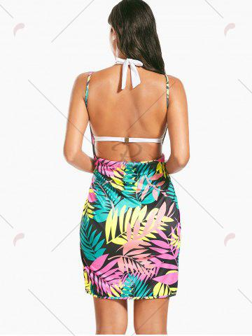 Best Colorful Palm Leaf Print Short Cover Up Dress - ONE SIZE FLORAL Mobile