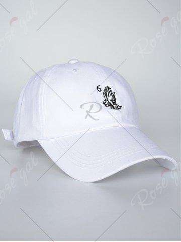Fancy Sunscreen Palms Number Embroidery Baseball Hat - ALL WHITE  Mobile