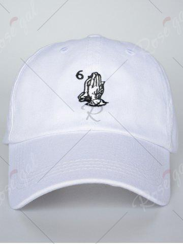 Outfits Sunscreen Palms Number Embroidery Baseball Hat - ALL WHITE  Mobile