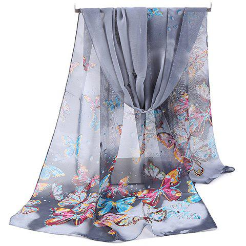 Lightsome Fancy Butterfly Printing Chiffon Scarf - Gray