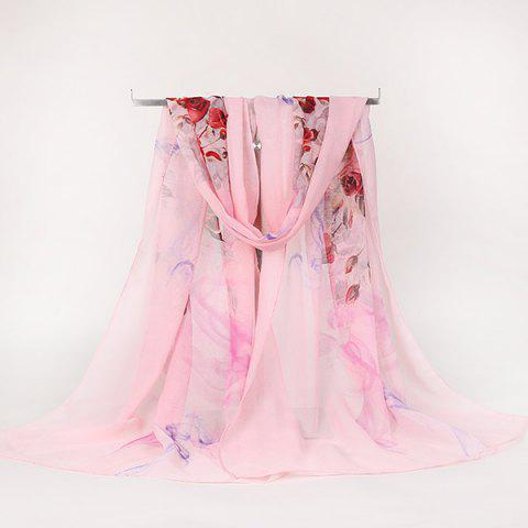 Trendy Lightsome Rose Bush Printed Gossamer Scarf - PAPAYA  Mobile