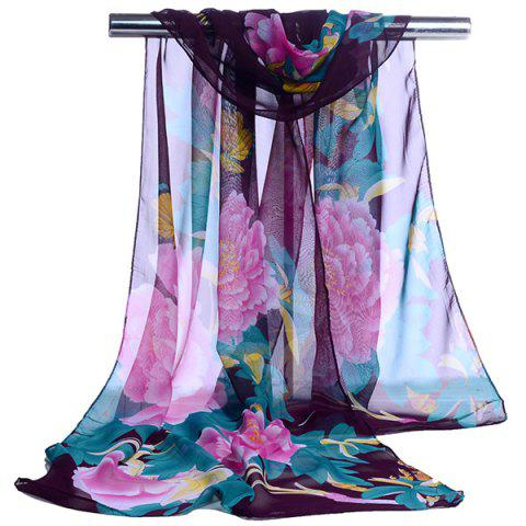 Outfits Gossamer Showy Flowers Printed Long Scarf - PURPLE  Mobile