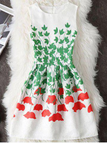 Outfits Plant Print A Line Dress WHITE S