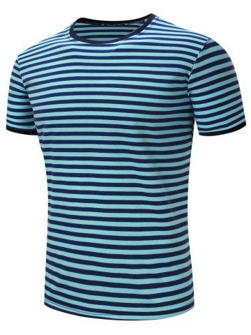 Stripe Crew Neck Short Sleeve Cotton T-shirt - Azure - S