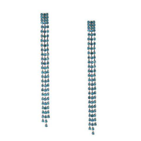 Rhinestone Fringed Chain Earrings - Blue
