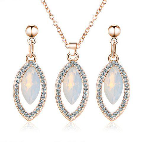 Best Rhinestone Faux Gem Necklace and Earring Set GOLDEN
