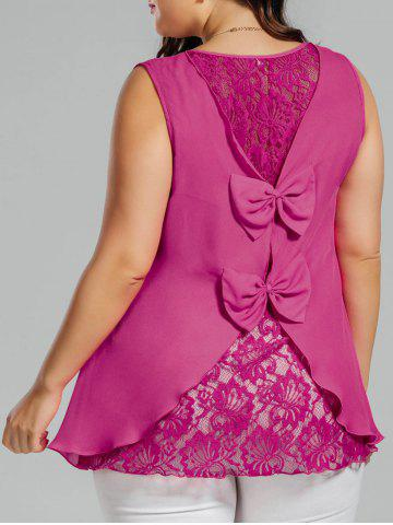New Plus Size Chiffon Lace Panel Bowknot Embellished Tank Top ROSE RED 3XL