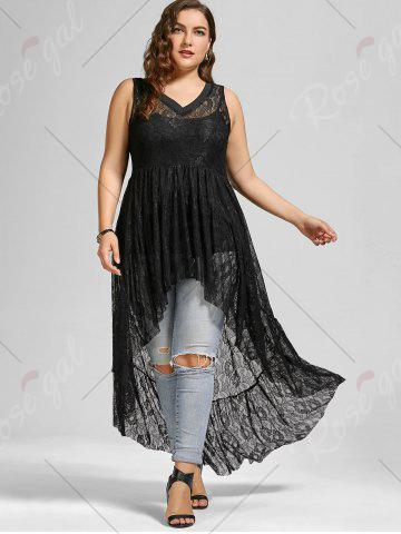 Outfit See Through Lace High Low Plus Size Top - BLACK 5XL Mobile
