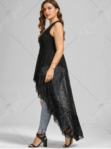 Shop See Through Lace High Low Plus Size Top - BLACK 5XL Mobile