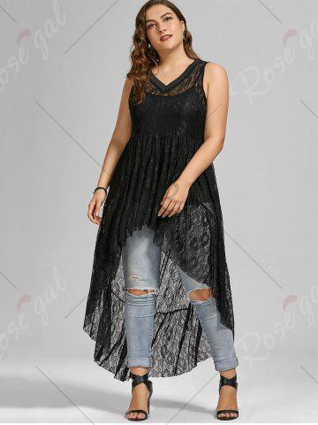 Store See Through Lace High Low Plus Size Top - BLACK 5XL Mobile
