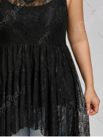 Fashion See Through Lace High Low Plus Size Top - BLACK 5XL Mobile