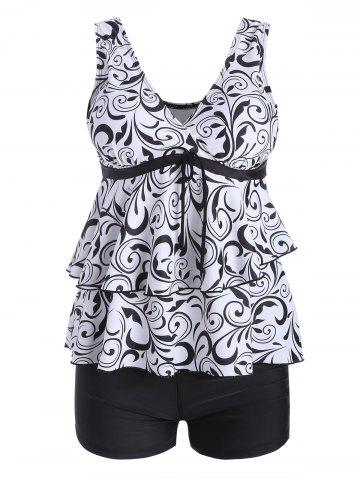 Unique Plus Size Flounce Printed Blouson Tankini Set WHITE AND BLACK 4XL