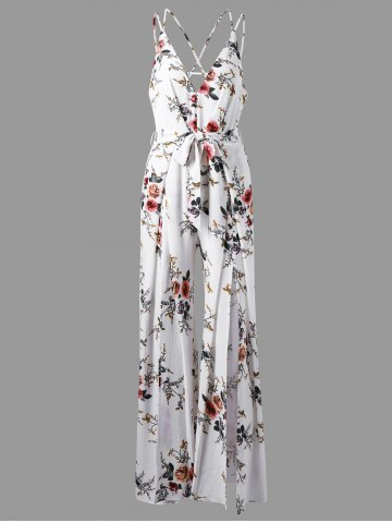 Outfits Low Cut Tiny Floral Criss Cross Jumpsuit WHITE XL