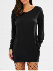 V Neck Long Sleeve Tunic Casual Dress - BLACK