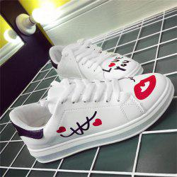 Faux Leather Letter Printed Athletic Shoes