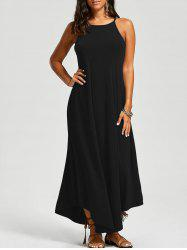 Asymmetrical Trim Maxi Dress - BLACK