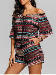 Tribal Print Beaded Off The Shoulder Romper