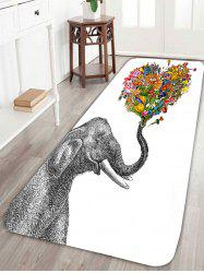 Floral Heart Elephant Area Skidproof Rug