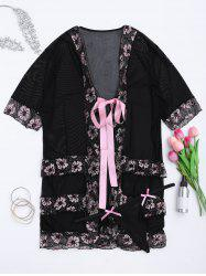 Plus Size Lingeries Lace Flowers Wrap Sleepwear - BLACK