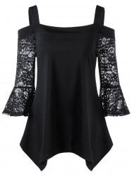 Lace Sleeve Cold Shoulder Top - BLACK