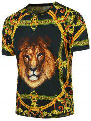 Short Sleeve 3D Lion Vintage Floral Print T-shirt - BLACK