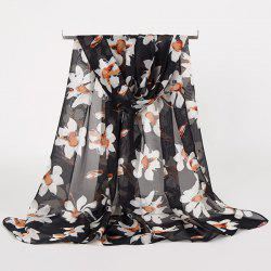 Gossamer Wash Painting Flowers Printing Long Scarf - BLACK