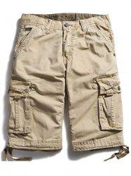 Pockets Zipper Fly Straight Cargo Shorts