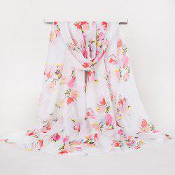Lightsome Multicolor Flowers Printed Gossamer Scarf - WATER RED