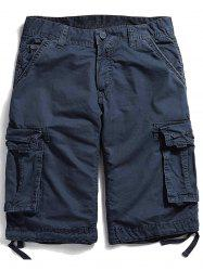Pockets Zipper Fly Straight Cargo Shorts -