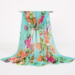 Rose Blossom Printed Lightsome Retro Scarf - LIGHT GREEN