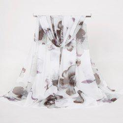 Gossamer Watercolor Floral Printing Long Scarf
