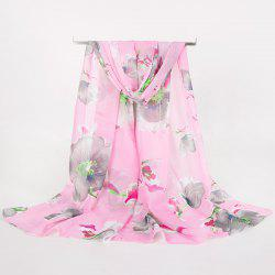 Gossamer Watercolour Floral Printing Long Scarf - SHALLOW PINK