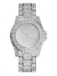 Steel Strap Rhinestoned Quartz Analog Watch